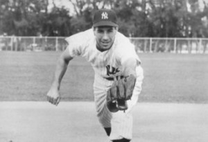 Phil Rizzuto, here in a posed shot, scored on DiMaggio's single.