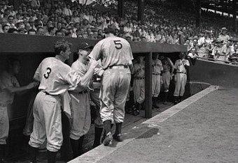 Joe DiMaggio Being Congratulated, June 29, 1941