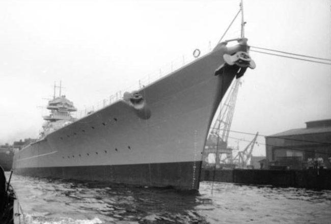 The Bismarck, 1941. The largest battleship ever built.